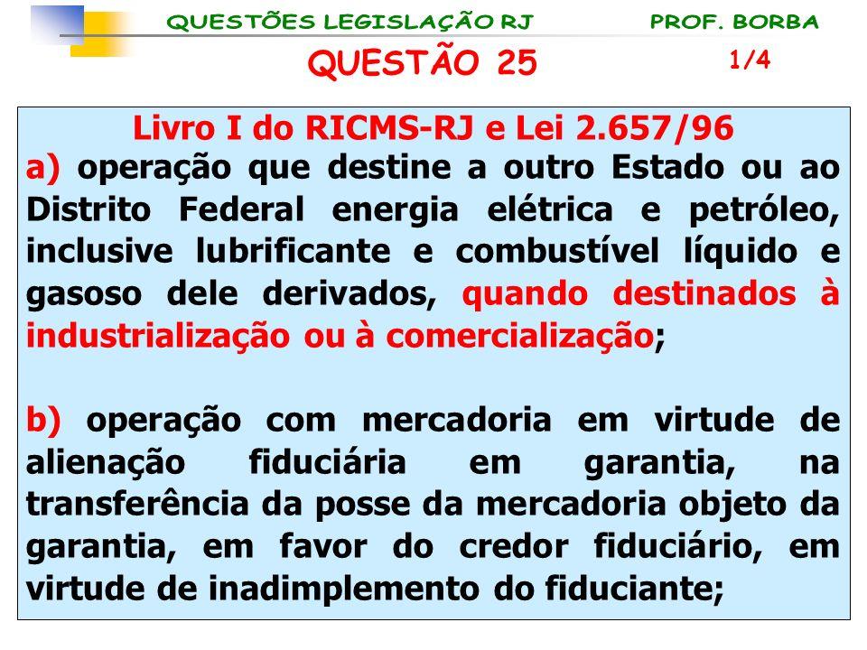 Livro I do RICMS-RJ e Lei 2.657/96 a) operação que destine a outro Estado ou ao Distrito Federal energia elétrica e petróleo, inclusive lubrificante e