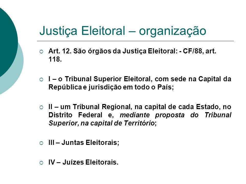 Justiça Eleitoral – organização Art. 12. São órgãos da Justiça Eleitoral: - CF/88, art. 118. I – o Tribunal Superior Eleitoral, com sede na Capital da
