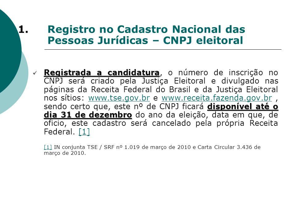 1.Registro no Cadastro Nacional das Pessoas Jurídicas – CNPJ eleitoral Registrada a candidatura disponível até o dia 31 de dezembro Registrada a candi