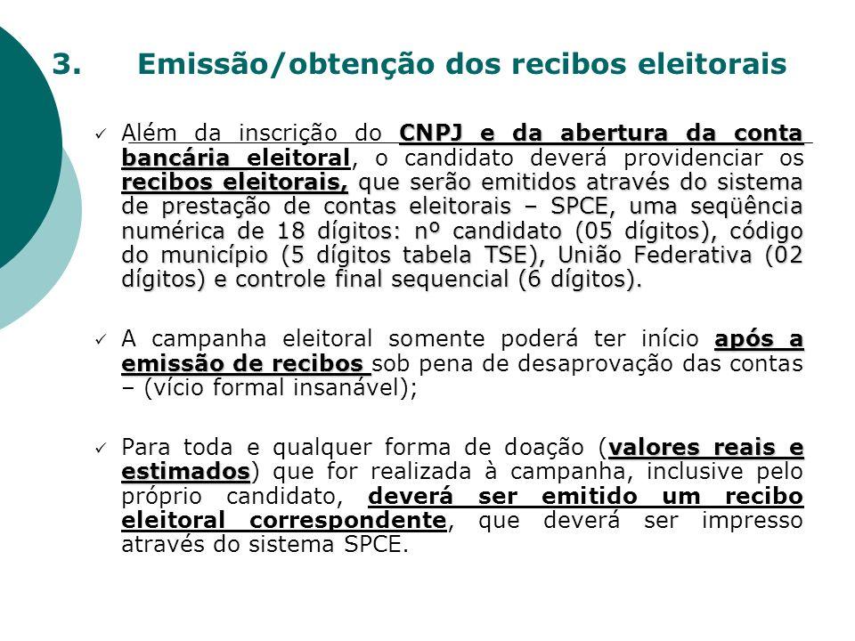 3.Emissão/obtenção dos recibos eleitorais CNPJ e da abertura da conta bancária recibos eleitorais, que serão emitidos através do sistema de prestação