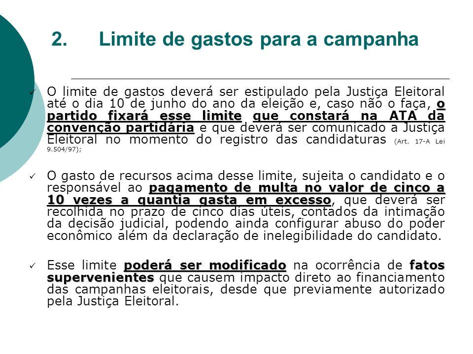 2.Limite de gastos para a campanha o partido fixará esse limite O limite de gastos deverá ser estipulado pela Justiça Eleitoral até o dia 10 de junho