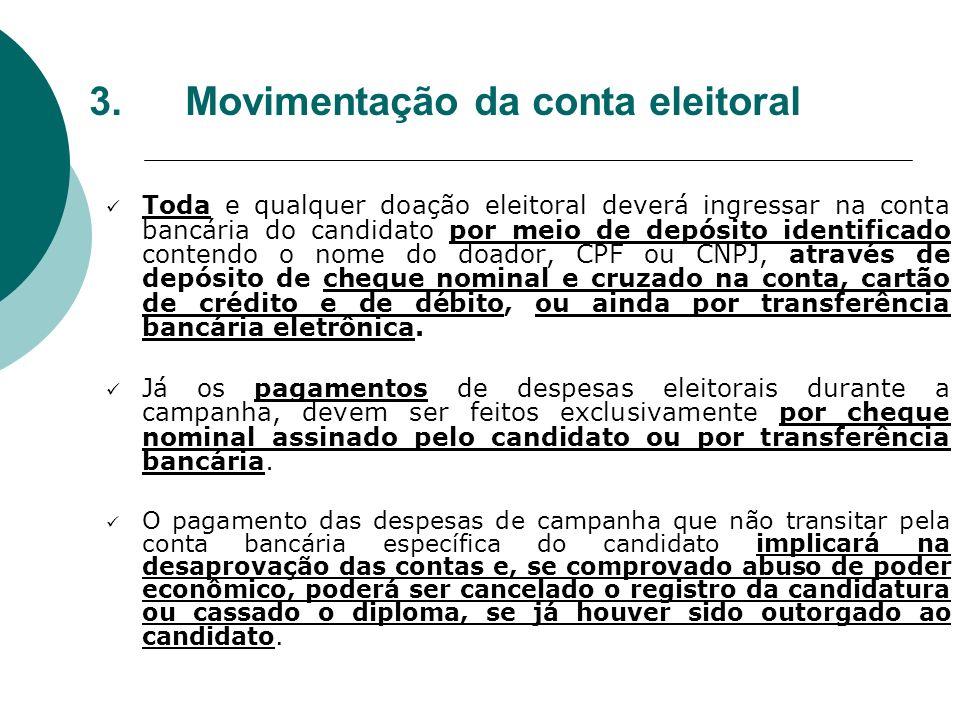 3.Movimentação da conta eleitoral Toda e qualquer doação eleitoral deverá ingressar na conta bancária do candidato por meio de depósito identificado c
