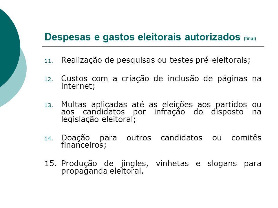 Despesas e gastos eleitorais autorizados (final) 11. Realização de pesquisas ou testes pré-eleitorais; 12. Custos com a criação de inclusão de páginas