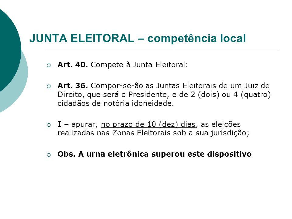 JUNTA ELEITORAL – competência local Art. 40. Compete à Junta Eleitoral: Art. 36. Compor-se-ão as Juntas Eleitorais de um Juiz de Direito, que será o P