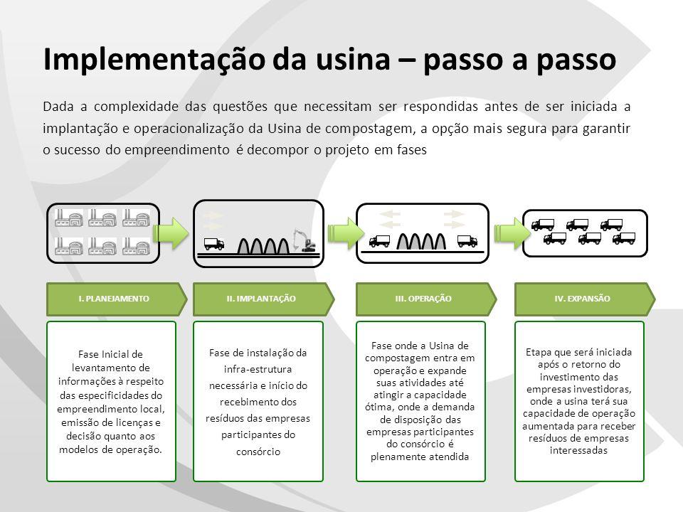 Implementação da usina – passo a passo Dada a complexidade das questões que necessitam ser respondidas antes de ser iniciada a implantação e operacion