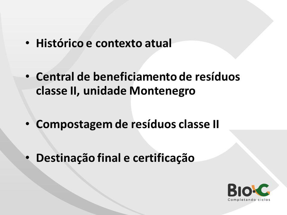 Histórico e contexto atual Central de beneficiamento de resíduos classe II, unidade Montenegro Compostagem de resíduos classe II Destinação final e ce