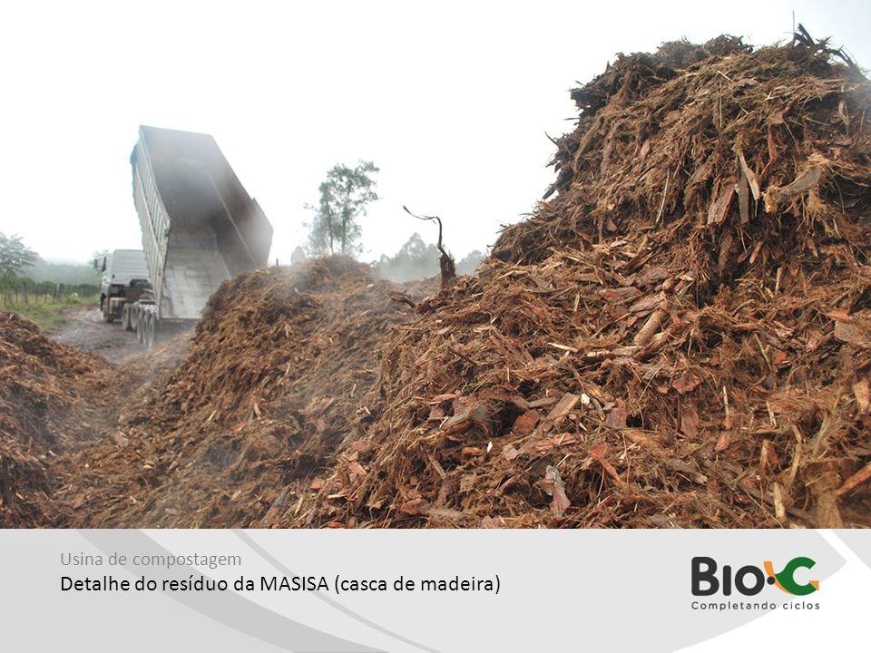 Usina de compostagem Detalhe do resíduo da MASISA (casca de madeira)