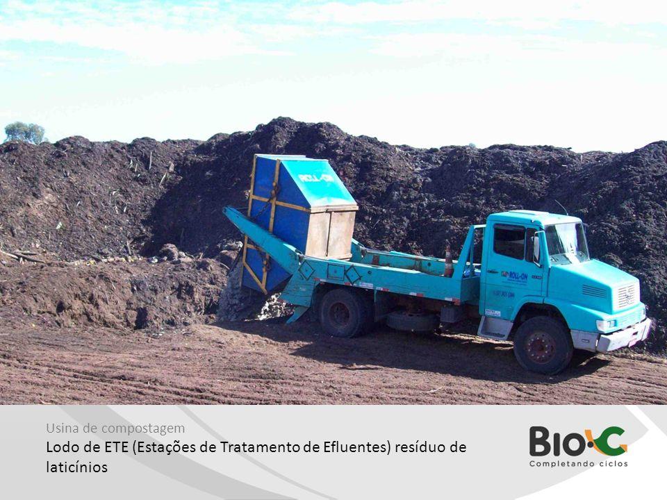 Usina de compostagem Lodo de ETE (Estações de Tratamento de Efluentes) resíduo de laticínios