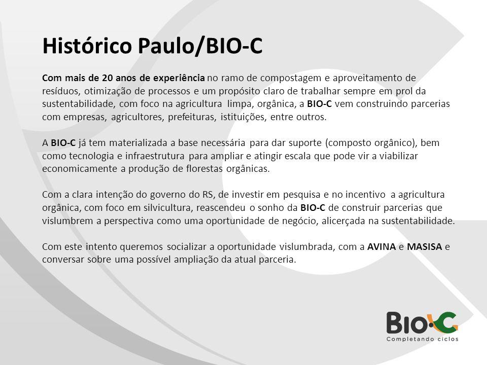 Histórico Paulo/BIO-C Com mais de 20 anos de experiência no ramo de compostagem e aproveitamento de resíduos, otimização de processos e um propósito c
