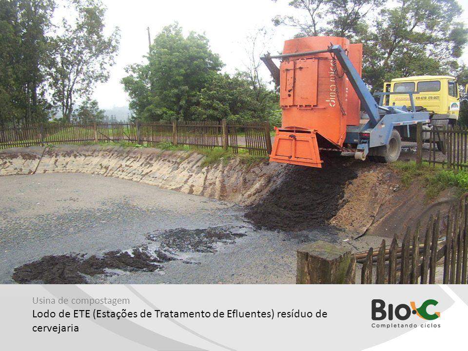 Usina de compostagem Lodo de ETE (Estações de Tratamento de Efluentes) resíduo de cervejaria