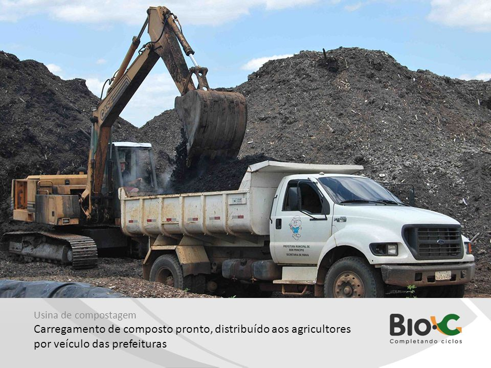 Usina de compostagem Carregamento de composto pronto, distribuído aos agricultores por veículo das prefeituras
