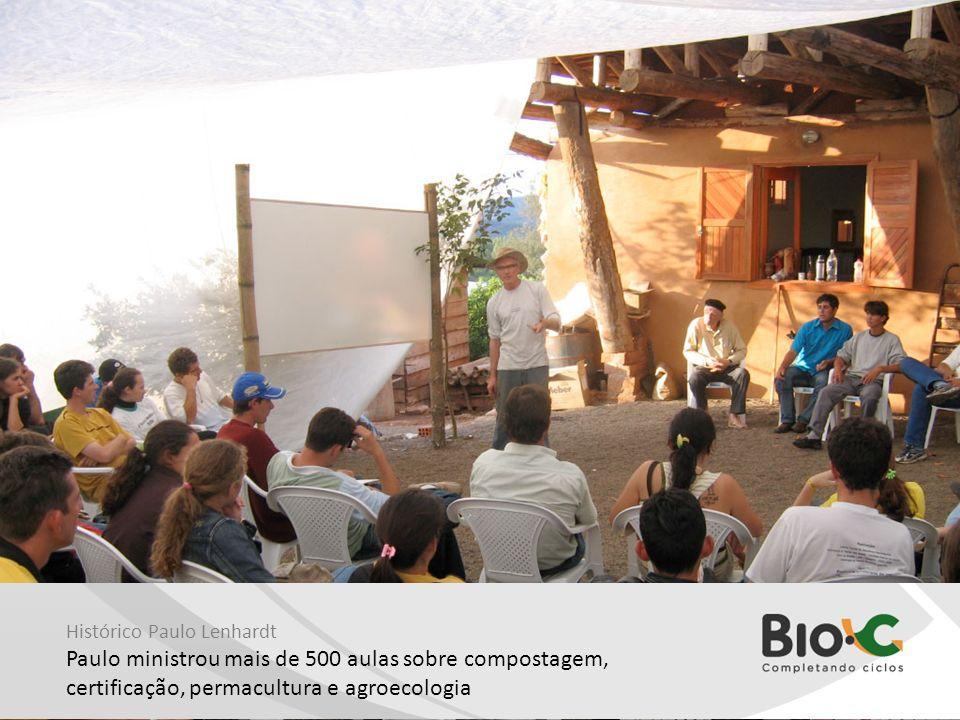 Histórico Paulo Lenhardt Paulo ministrou mais de 500 aulas sobre compostagem, certificação, permacultura e agroecologia