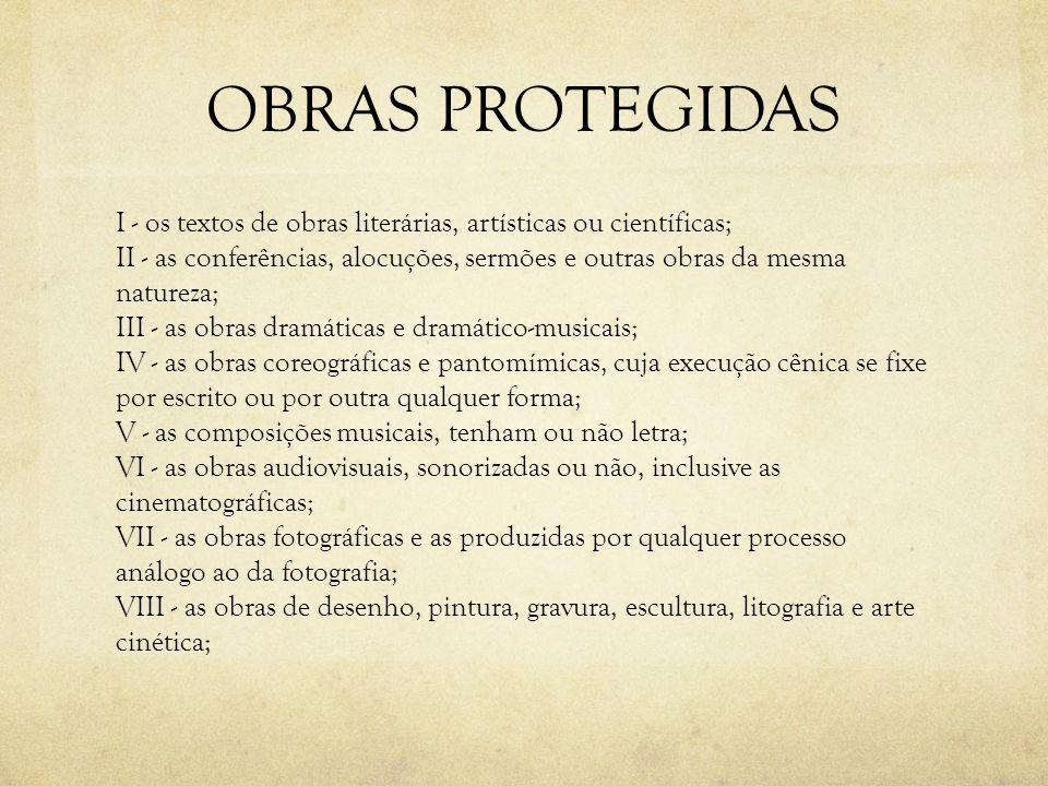 OBRAS PROTEGIDAS I - os textos de obras literárias, artísticas ou científicas; II - as conferências, alocuções, sermões e outras obras da mesma nature