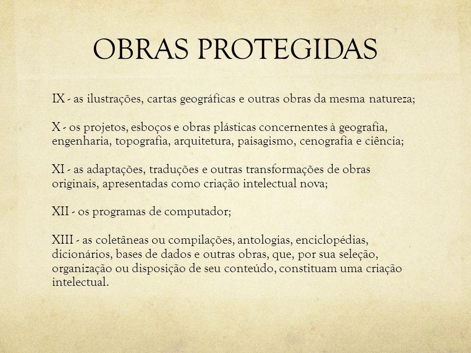 OBRAS PROTEGIDAS IX - as ilustrações, cartas geográficas e outras obras da mesma natureza; X - os projetos, esboços e obras plásticas concernentes à g