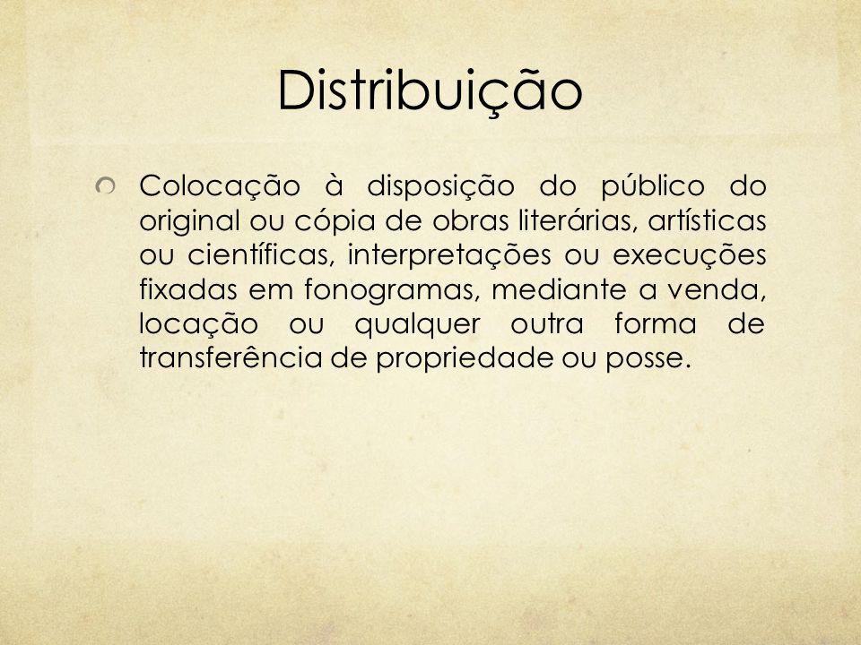 Distribuição Colocação à disposição do público do original ou cópia de obras literárias, artísticas ou científicas, interpretações ou execuções fixada