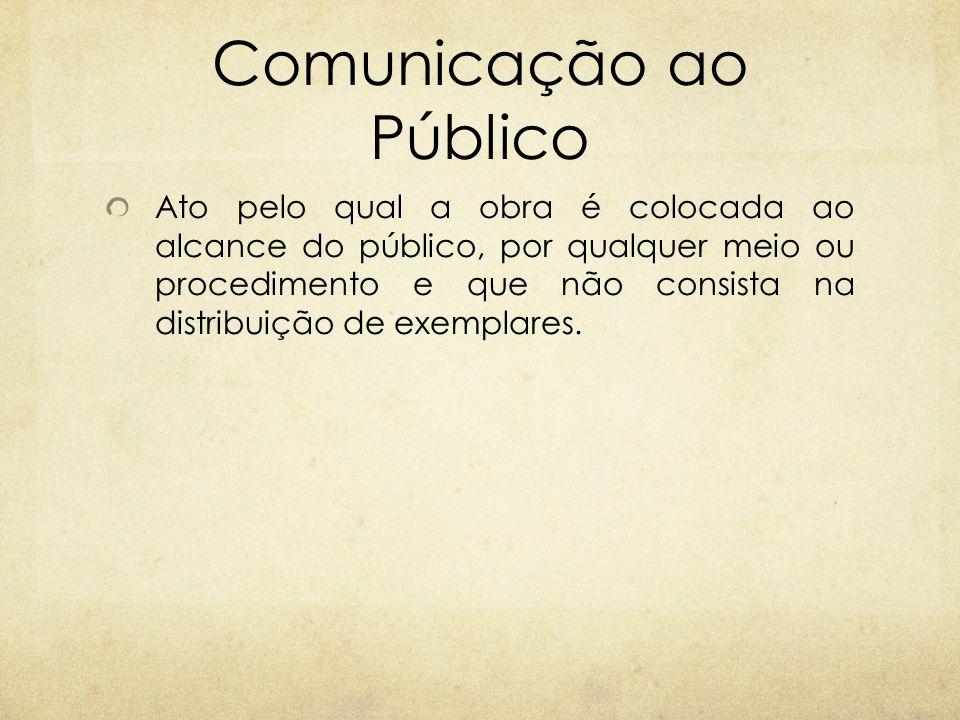 Comunicação ao Público Ato pelo qual a obra é colocada ao alcance do público, por qualquer meio ou procedimento e que não consista na distribuição de