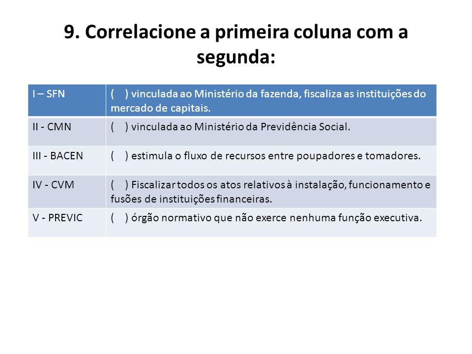 9. Correlacione a primeira coluna com a segunda: I – SFN( ) vinculada ao Ministério da fazenda, fiscaliza as instituições do mercado de capitais. II -