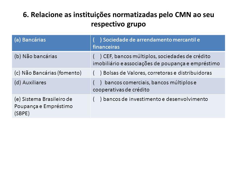 6. Relacione as instituições normatizadas pelo CMN ao seu respectivo grupo (a) Bancárias( ) Sociedade de arrendamento mercantil e financeiras (b) Não