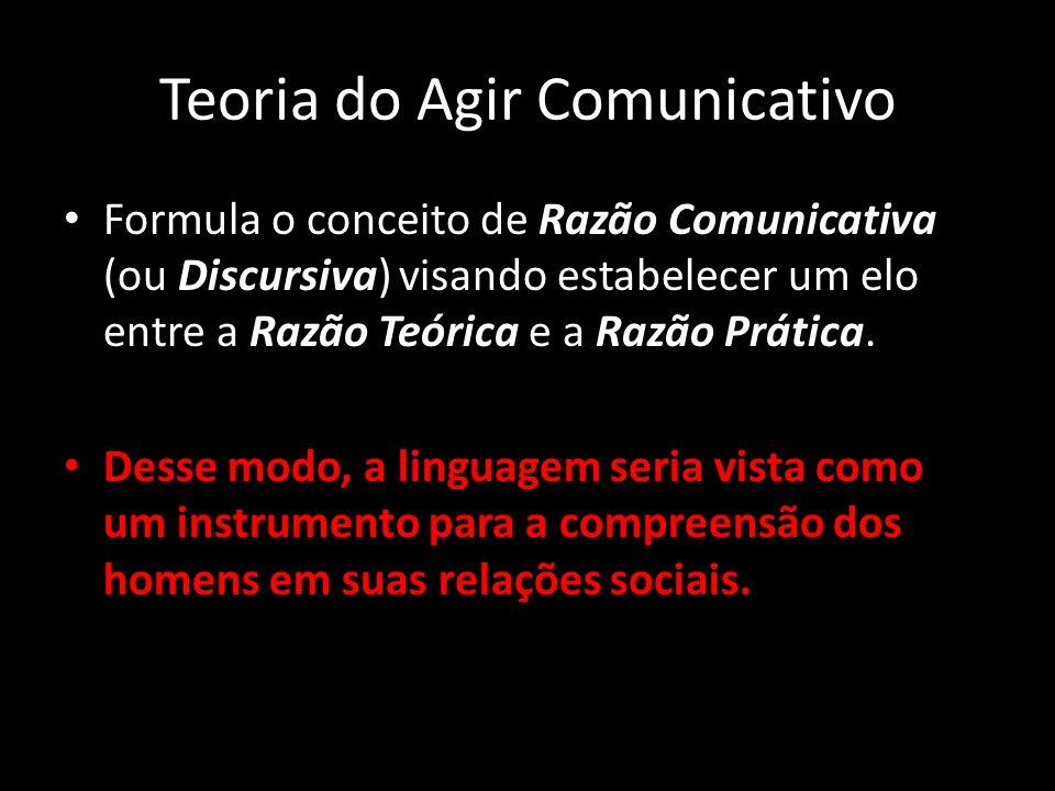 Teoria do Agir Comunicativo Formula o conceito de Razão Comunicativa (ou Discursiva) visando estabelecer um elo entre a Razão Teórica e a Razão Prátic