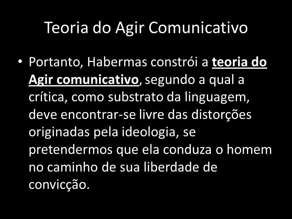 Portanto, Habermas constrói a teoria do Agir comunicativo, segundo a qual a crítica, como substrato da linguagem, deve encontrar-se livre das distorçõ