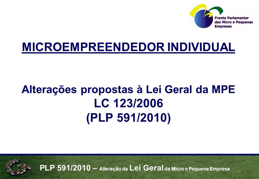 PLP 591/2010 – Alteração da Lei Geral da Micro e Pequena Empresa MICROEMPREENDEDOR INDIVIDUAL Alterações propostas à Lei Geral da MPE LC 123/2006 (PLP 591/2010)