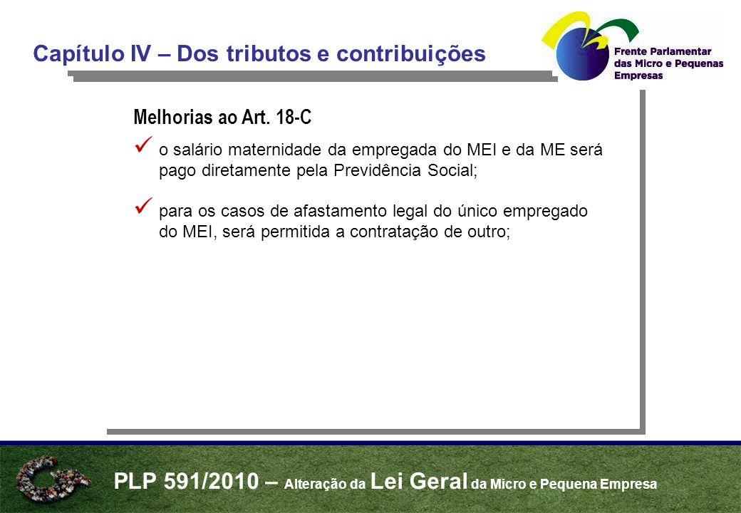 PLP 591/2010 – Alteração da Lei Geral da Micro e Pequena Empresa Capítulo IV – Dos tributos e contribuições Melhorias ao Art.