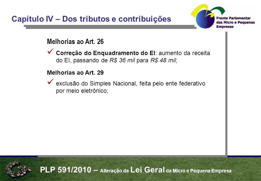 PLP 591/2010 – Alteração da Lei Geral da Micro e Pequena Empresa Capítulo VI – Simplificação das Relações de Trabalho Melhorias ao Art.