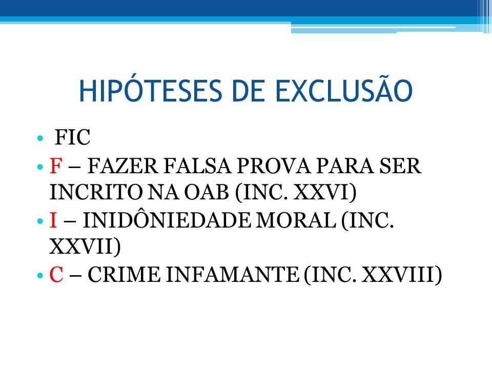 HIPÓTESES DE EXCLUSÃO FIC F – FAZER FALSA PROVA PARA SER INCRITO NA OAB (INC. XXVI) I – INIDÔNIEDADE MORAL (INC. XXVII) C – CRIME INFAMANTE (INC. XXVI