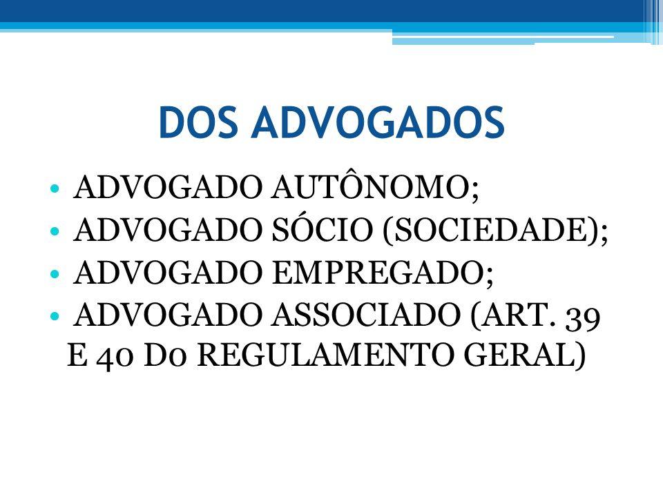 DOS ADVOGADOS ADVOGADO AUTÔNOMO; ADVOGADO SÓCIO (SOCIEDADE); ADVOGADO EMPREGADO; ADVOGADO ASSOCIADO (ART. 39 E 40 D0 REGULAMENTO GERAL)