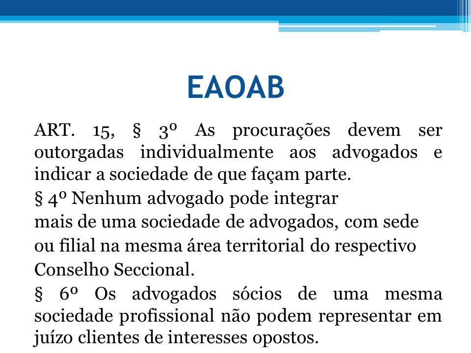 EAOAB ART. 15, § 3º As procurações devem ser outorgadas individualmente aos advogados e indicar a sociedade de que façam parte. § 4º Nenhum advogado p