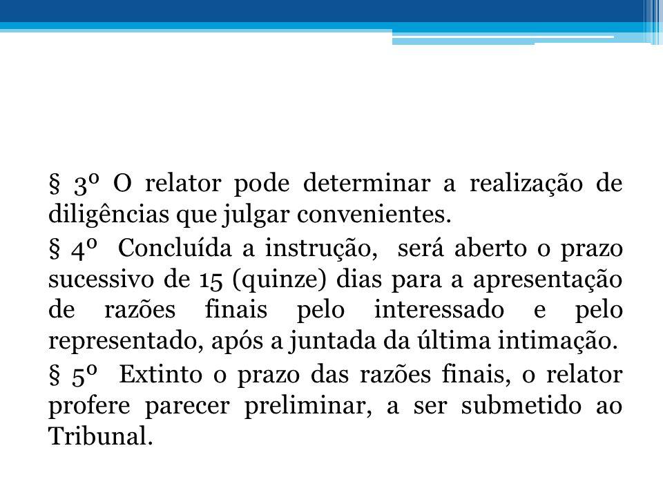 § 3º O relator pode determinar a realização de diligências que julgar convenientes. § 4º Concluída a instrução, será aberto o prazo sucessivo de 15 (q