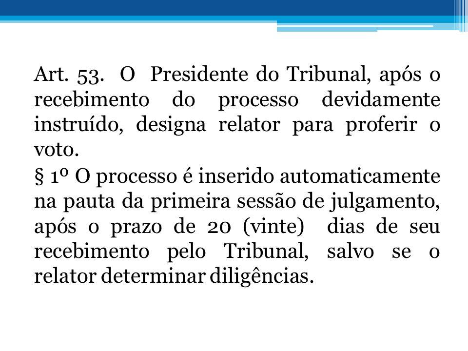 Art. 53. O Presidente do Tribunal, após o recebimento do processo devidamente instruído, designa relator para proferir o voto. § 1º O processo é inser