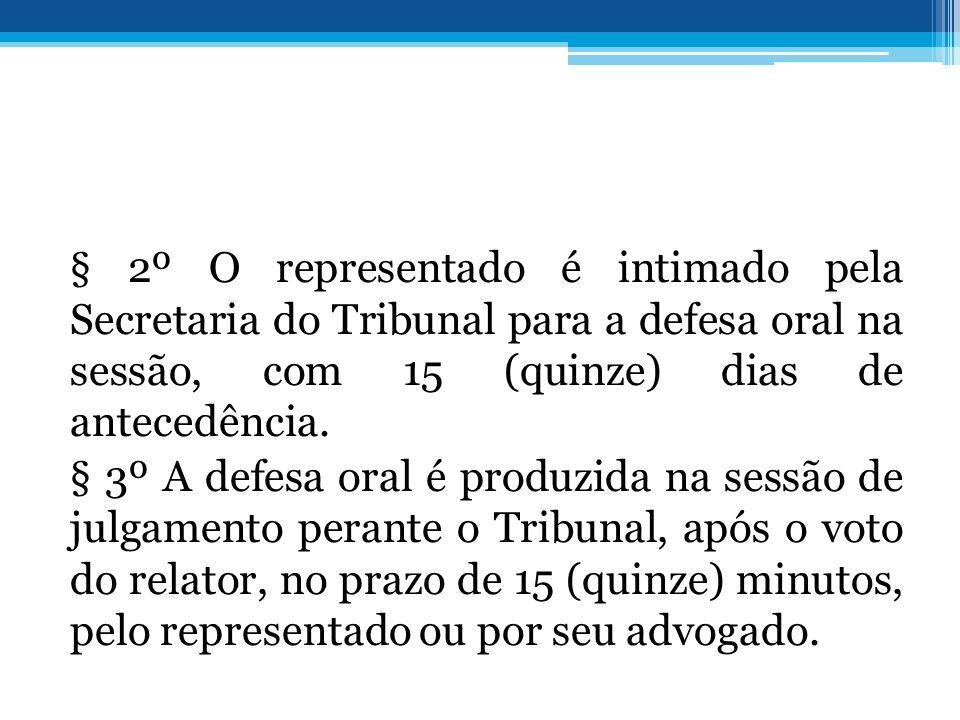 § 2º O representado é intimado pela Secretaria do Tribunal para a defesa oral na sessão, com 15 (quinze) dias de antecedência. § 3º A defesa oral é pr