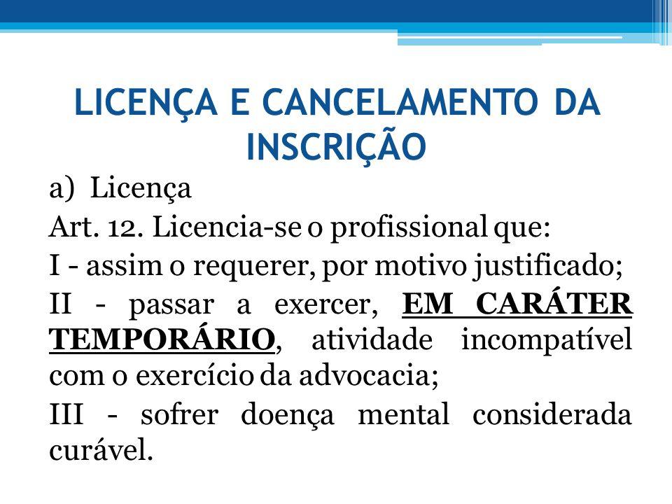 LICENÇA E CANCELAMENTO DA INSCRIÇÃO a) Licença Art. 12. Licencia-se o profissional que: I - assim o requerer, por motivo justificado; II - passar a ex