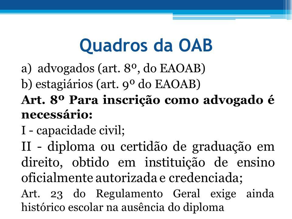 Quadros da OAB a) advogados (art. 8º, do EAOAB) b) estagiários (art. 9º do EAOAB) Art. 8º Para inscrição como advogado é necessário: I - capacidade ci