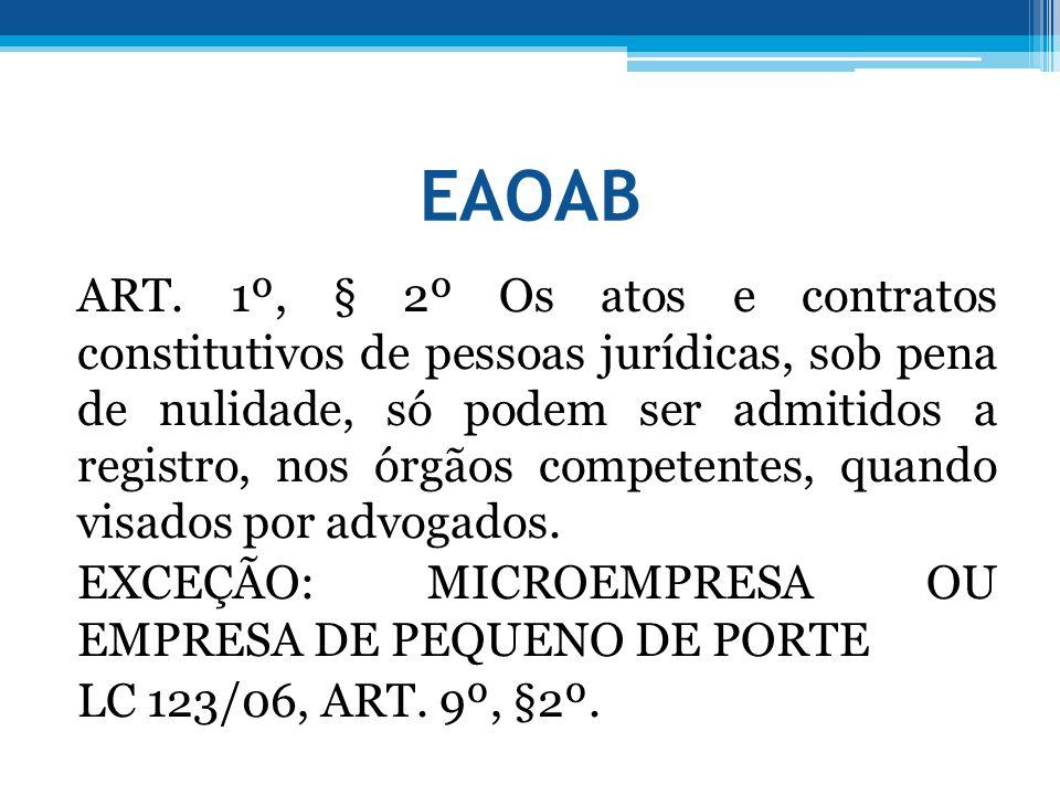 EAOAB ART. 1º, § 2º Os atos e contratos constitutivos de pessoas jurídicas, sob pena de nulidade, só podem ser admitidos a registro, nos órgãos compet