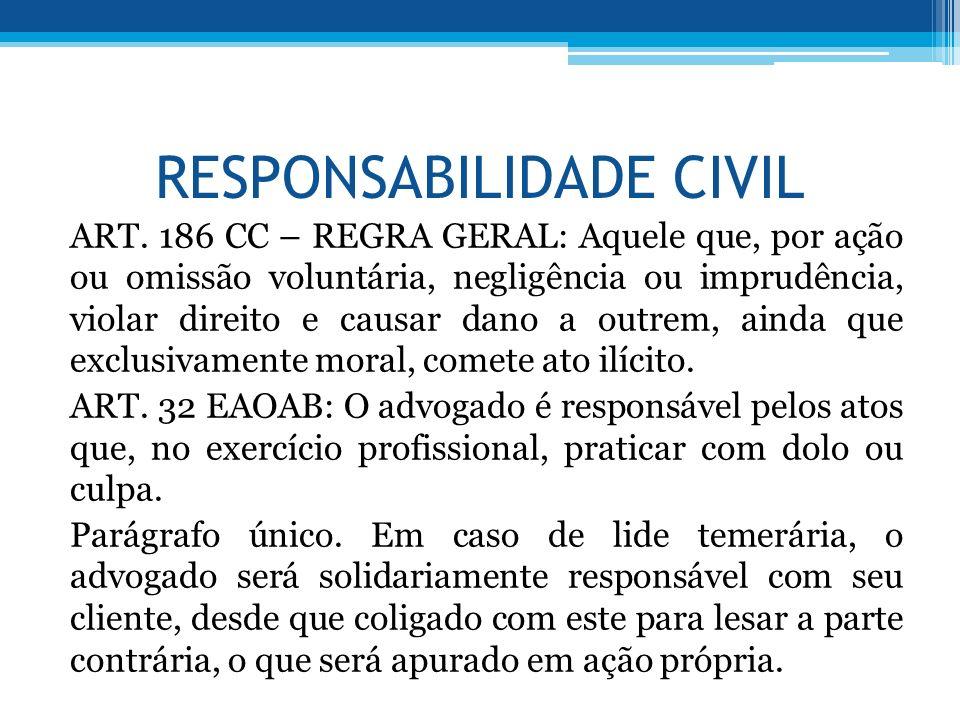RESPONSABILIDADE CIVIL ART. 186 CC – REGRA GERAL: Aquele que, por ação ou omissão voluntária, negligência ou imprudência, violar direito e causar dano