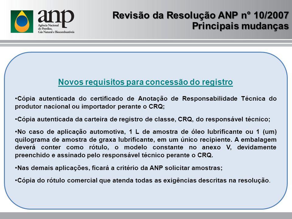 Novos requisitos para concessão do registro Cópia autenticada do certificado de Anotação de Responsabilidade Técnica do produtor nacional ou importado