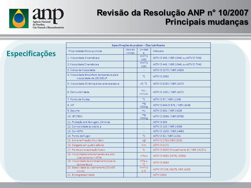 Revisão da Resolução ANP n° 10/2007 Principais mudanças Especificações Especificações do produto – Óleo lubrificante Propriedades físico-químicas Valo