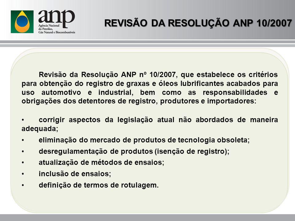 REVISÃO DA RESOLUÇÃO ANP 10/2007 MOTIVAÇÕES RESULTADOS DO PML EVOLUÇÃO NAS SOLICITAÇÕES DE REGISTROS TECNOLOGIAS AVANÇADAS RENOVAÇÃO DA FROTA : ÚLTIMOS 10 ANOS CRESCIMENTO MONTADORAS EUROPÉIAS: NÍVEIS ACEA E NOVOS ENSAIOS EXIGÊNCIAS AMBIENTAIS