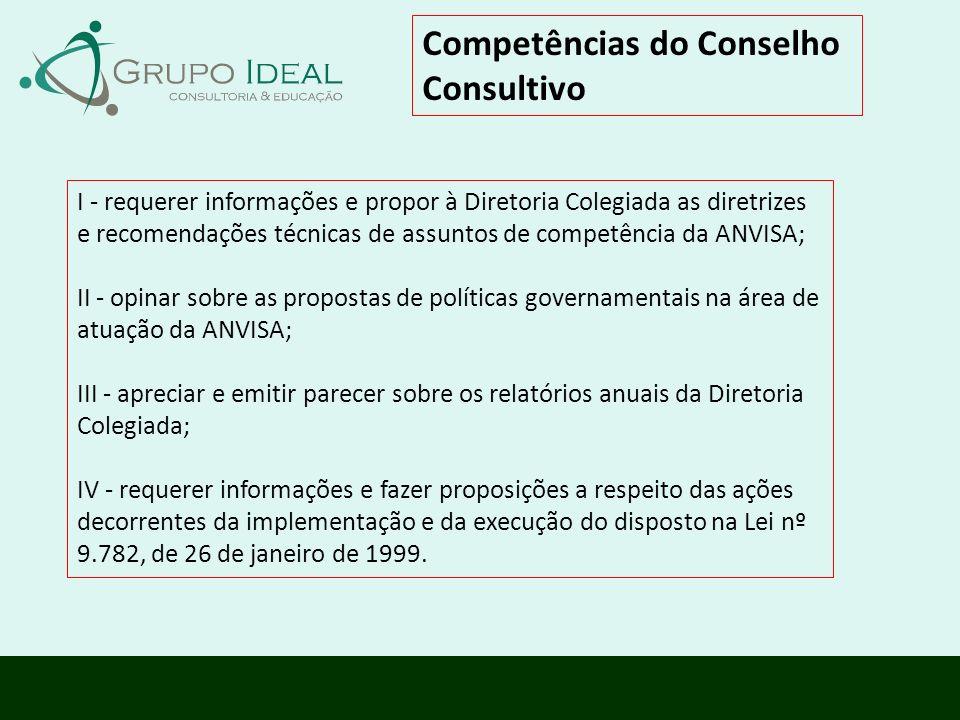Competências do Conselho Consultivo I - requerer informações e propor à Diretoria Colegiada as diretrizes e recomendações técnicas de assuntos de comp