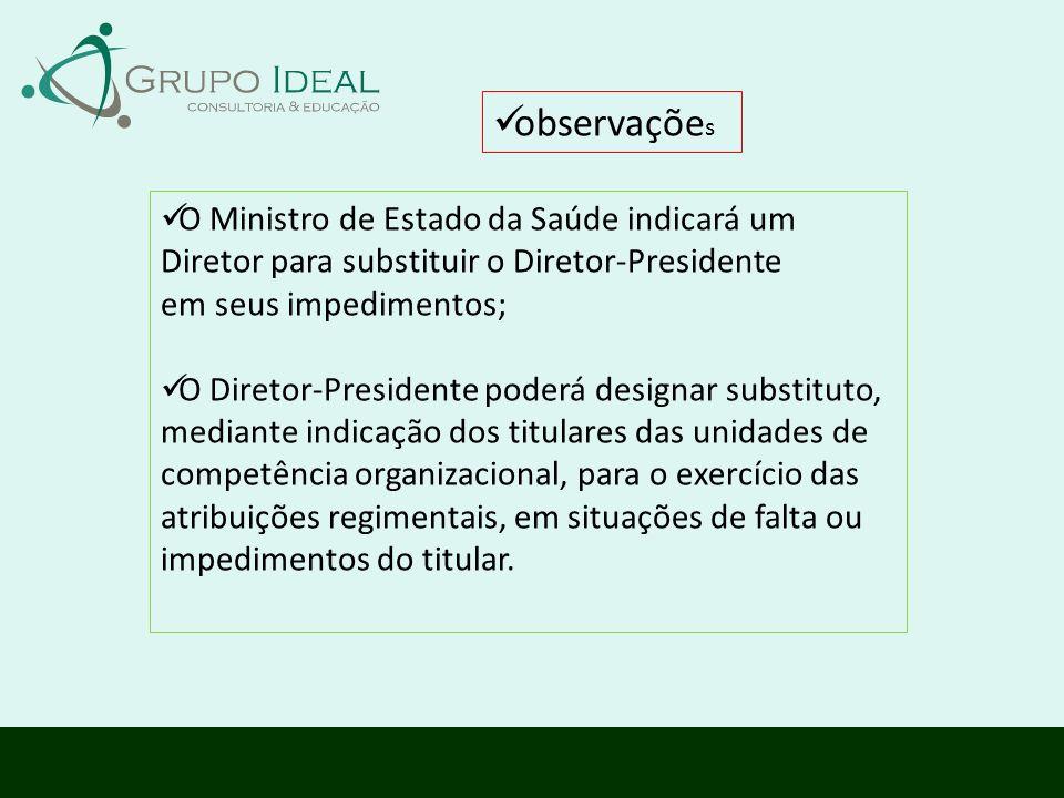 O Ministro de Estado da Saúde indicará um Diretor para substituir o Diretor-Presidente em seus impedimentos; O Diretor-Presidente poderá designar subs