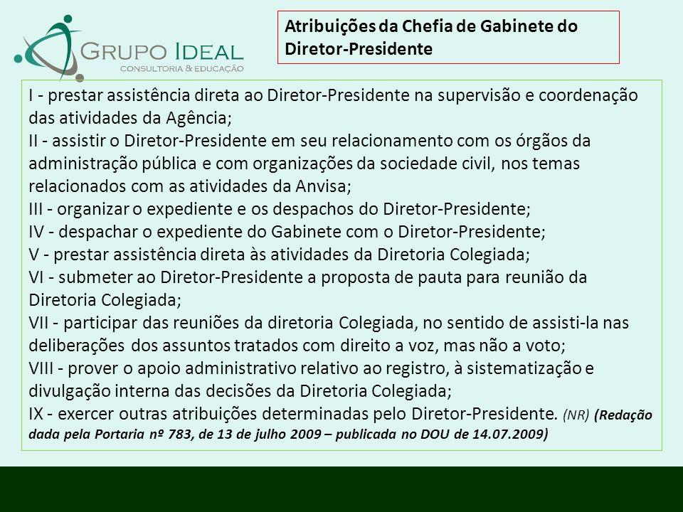 Atribuições da Chefia de Gabinete do Diretor-Presidente I - prestar assistência direta ao Diretor-Presidente na supervisão e coordenação das atividade