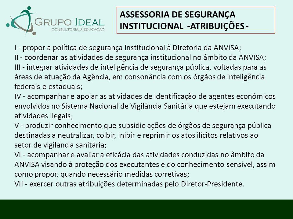 I - propor a política de segurança institucional à Diretoria da ANVISA; II - coordenar as atividades de segurança institucional no âmbito da ANVISA; I
