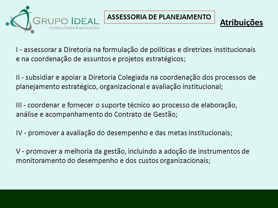 ASSESSORIA DE PLANEJAMENTO Atribuições I - assessorar a Diretoria na formulação de políticas e diretrizes institucionais e na coordenação de assuntos