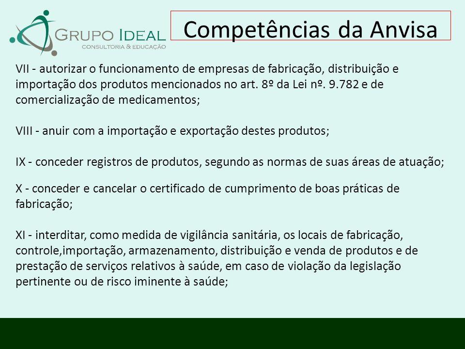 VII - autorizar o funcionamento de empresas de fabricação, distribuição e importação dos produtos mencionados no art. 8º da Lei nº. 9.782 e de comerci