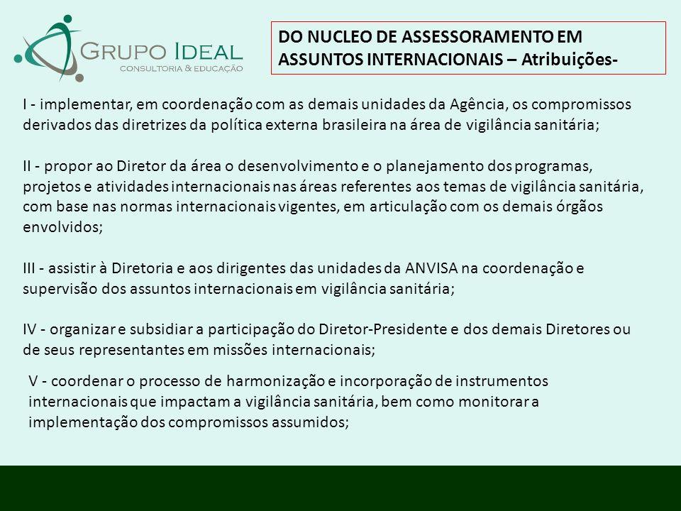 DO NUCLEO DE ASSESSORAMENTO EM ASSUNTOS INTERNACIONAIS – Atribuições- I - implementar, em coordenação com as demais unidades da Agência, os compromiss