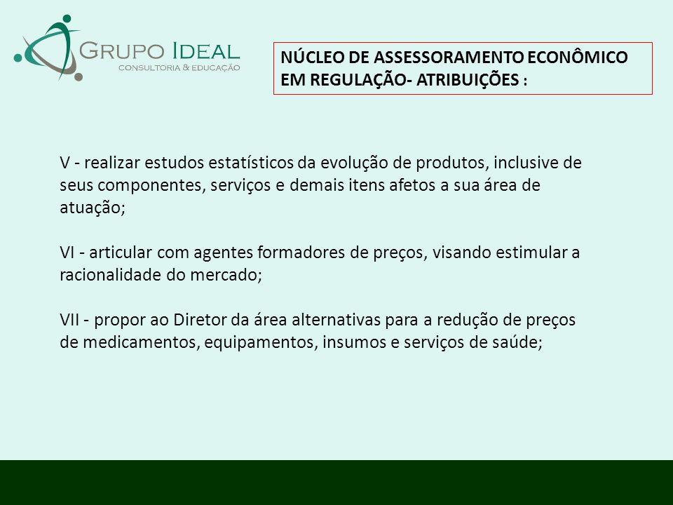 NÚCLEO DE ASSESSORAMENTO ECONÔMICO EM REGULAÇÃO- ATRIBUIÇÕES : V - realizar estudos estatísticos da evolução de produtos, inclusive de seus componente