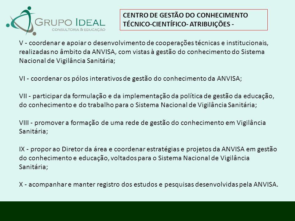 V - coordenar e apoiar o desenvolvimento de cooperações técnicas e institucionais, realizadas no âmbito da ANVISA, com vistas à gestão do conhecimento