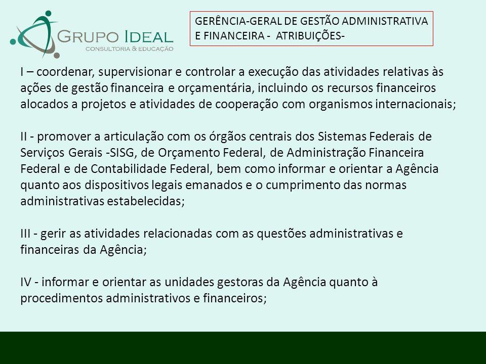 I – coordenar, supervisionar e controlar a execução das atividades relativas às ações de gestão financeira e orçamentária, incluindo os recursos finan